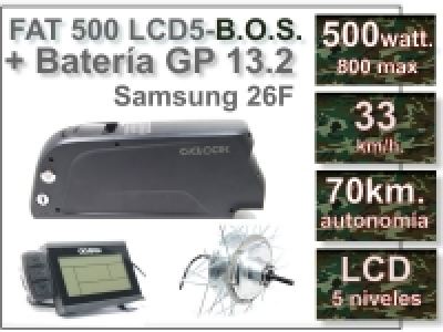 KIT FAT 500 FLCD5 B.O.S. + Batería GP de 36V., 13.2 Ah.