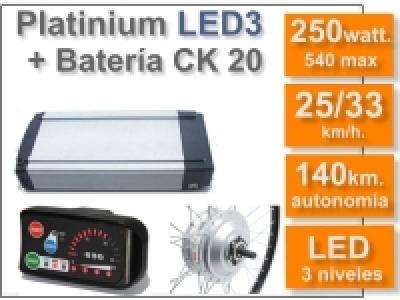 Kit Platinium LED 3 + batería CK de 20 Ah. 36v.