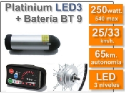 Kit Platinium LED 3 + batería BT de 9 Ah 36v