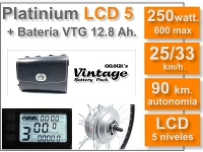 KIT Platinium LCD5 + Batería Vintage Negra 36v. 12.8 Ah.